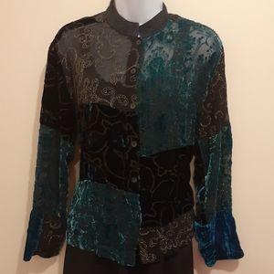 Vintage Silk Velvet Jacket. Size Large